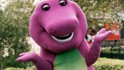 Barney The Dinosaur The 6ft.pink And Green Star Of American Tv Seen At London Zoo For A Photocall.